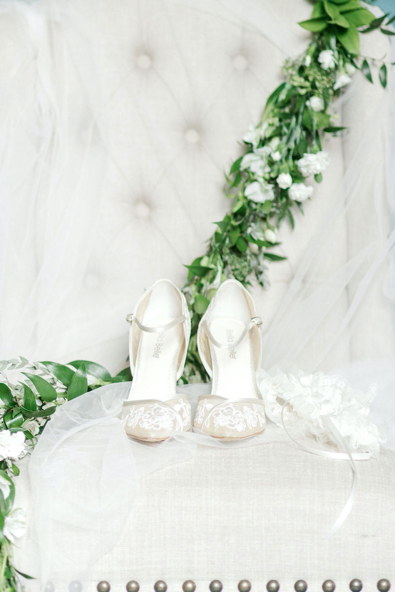 Lace Bridal Shoes with Lace Bridal Garter Styled Wedding Inspiration