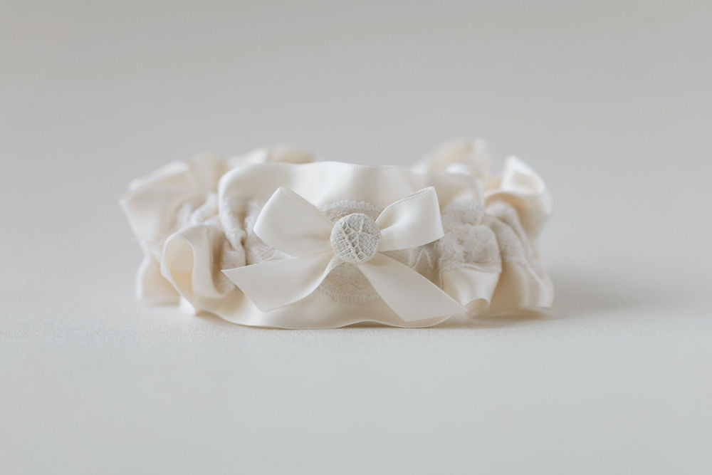 lace wedding garter personalized patch  from great grandmother's wedding dress scraps by expert bridal accessories designer, The Garter Girl