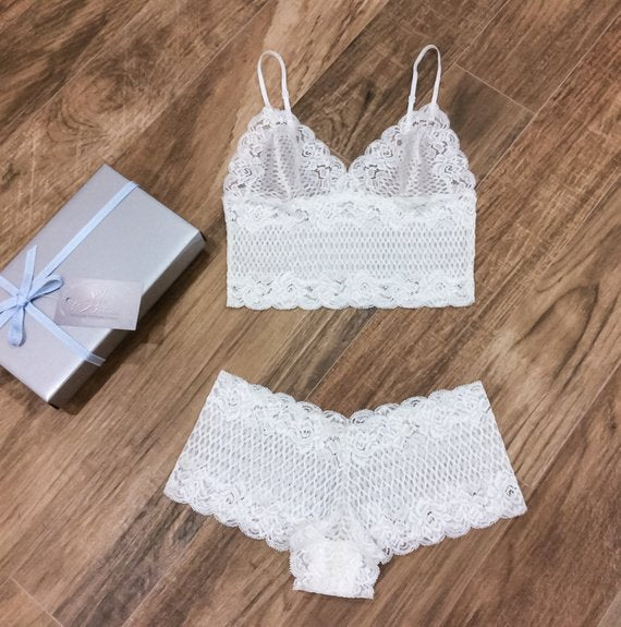 lace white bridal wedding lingerie set