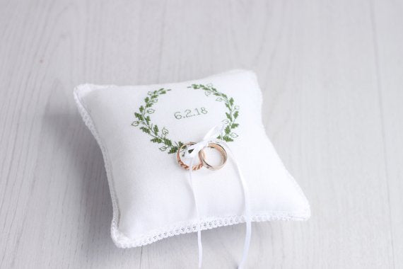 white laurel wreath wedding ring bearer pillow