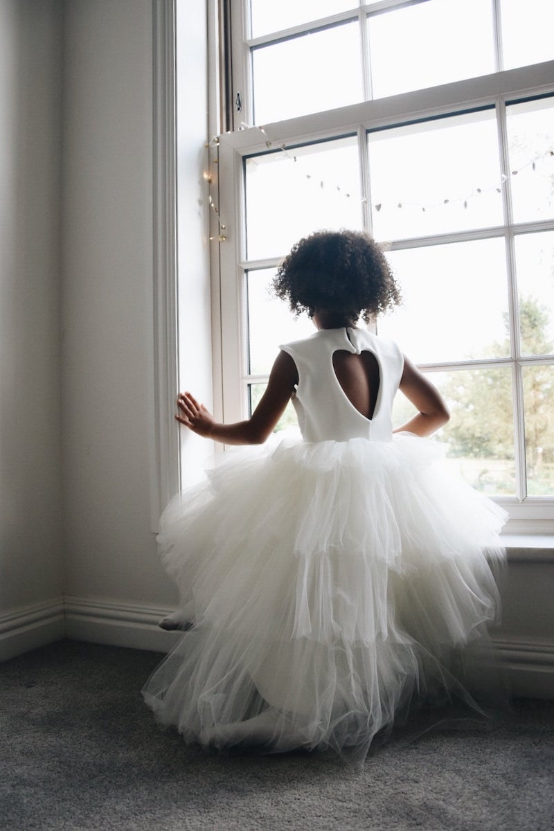 Layered Tulle and Heart Back Flower Girl Dress