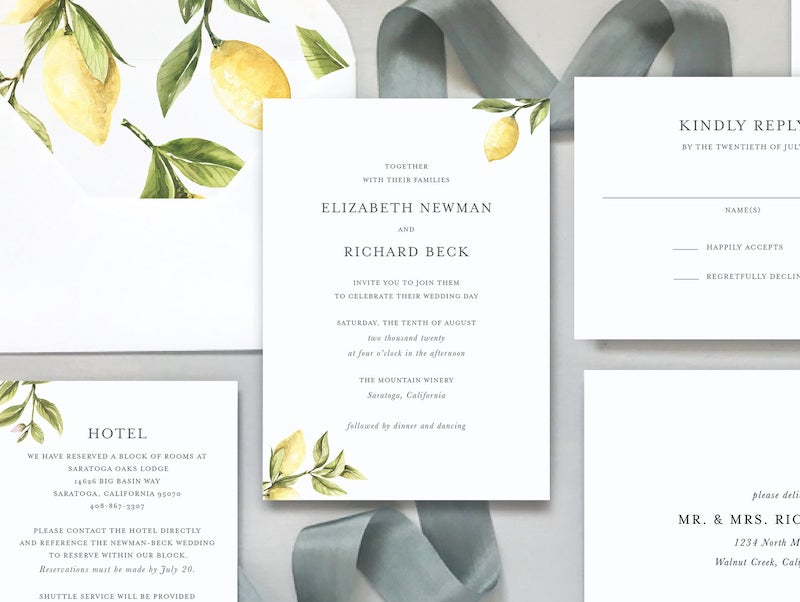 Lemon Citrus Wedding Invitation Suite