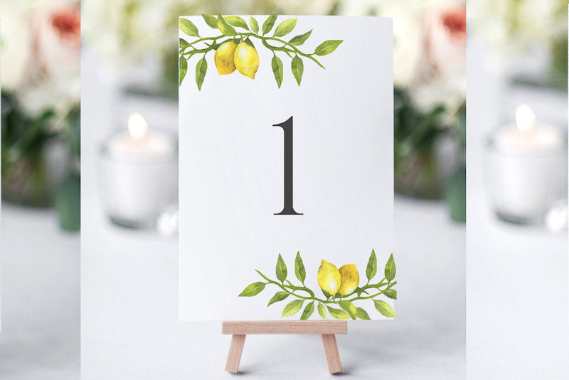 Lemon Wedding Table Number Signs