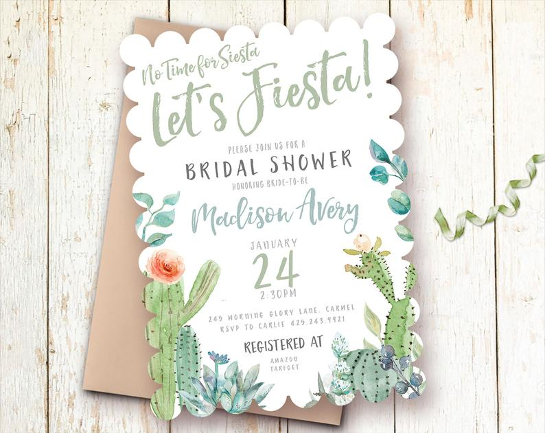 let's fiesta bridal shower invitation