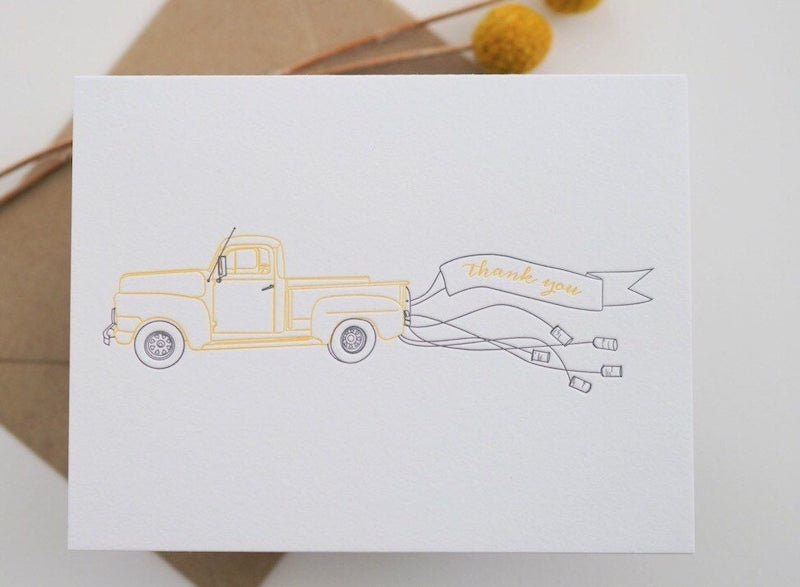 Letterpress Car and Cans Wedding Thank You Notes