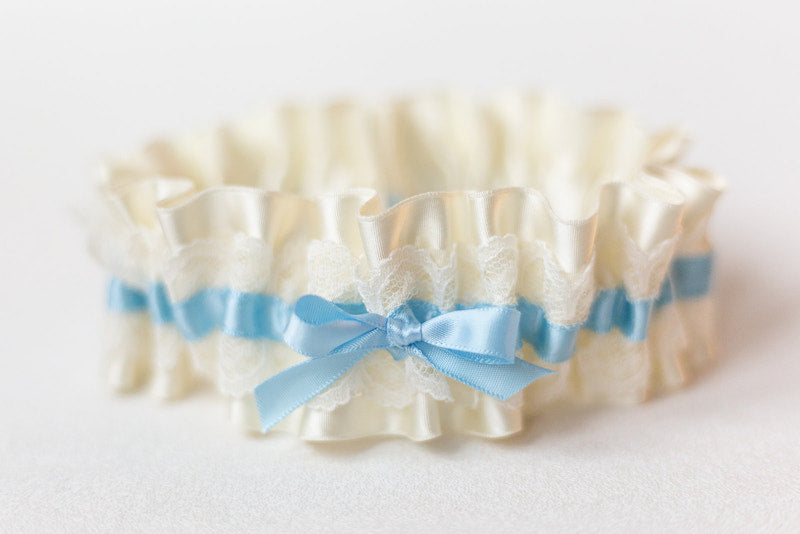 light blue and lace bridal garter