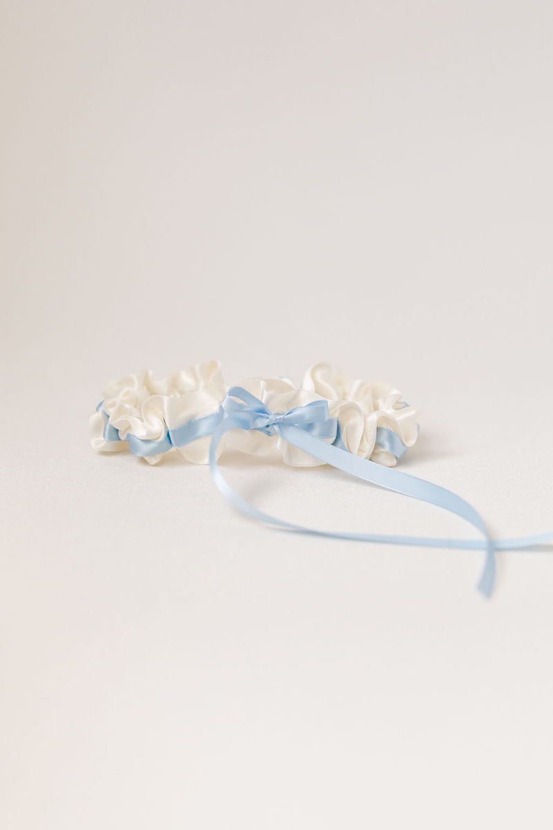 simple bridal garter heirloom set with ivory and light blue satin