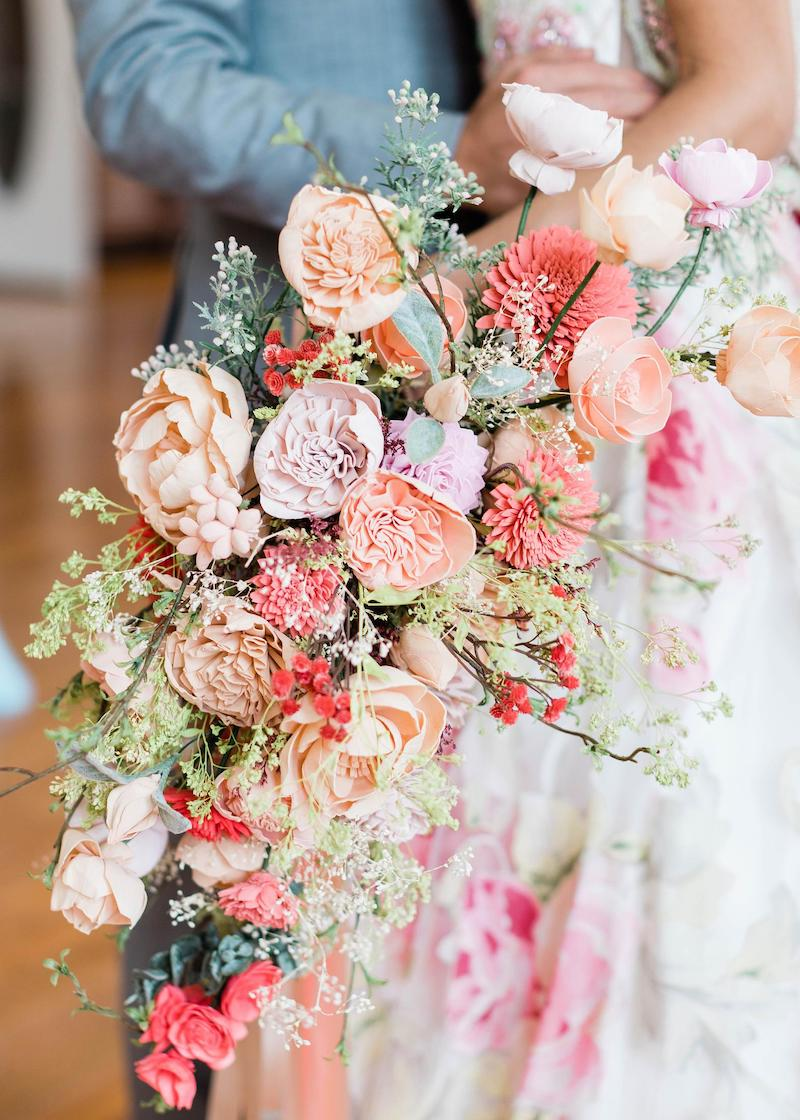 Living Coral Wedding Flower Bridal Bouquet
