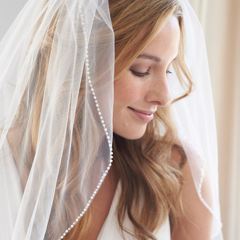 Long Pearl Trimmed Veil