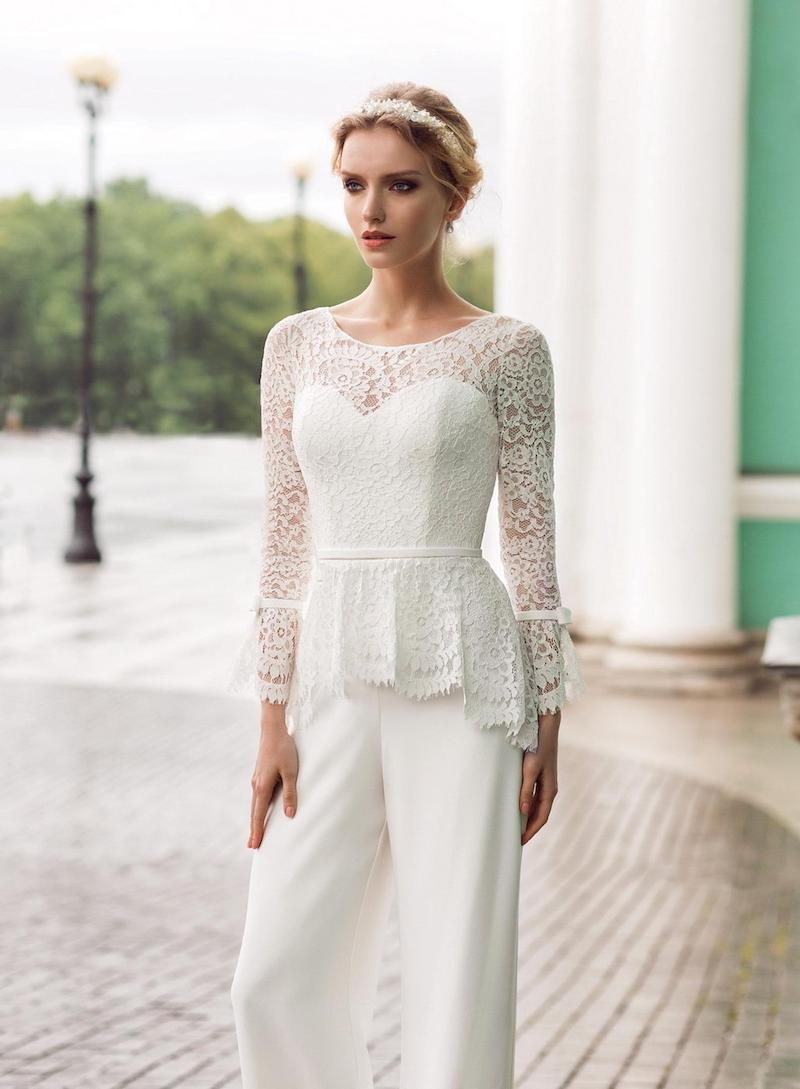 Long Sleeve Lace Bridal Jumpsuit