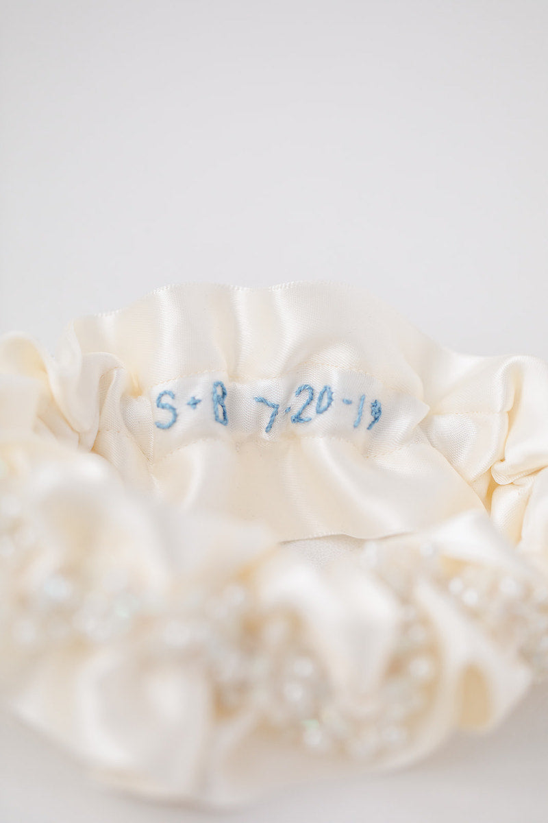 lace wedding garter heirloom hand embroidered personalized by The Garter Girll