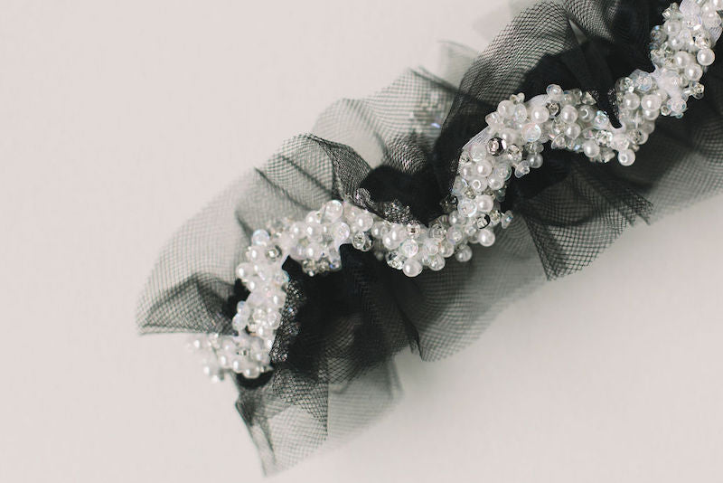 luxury tulle and sparkle bridal garter to match wedding dress handmade by The Garter Girl