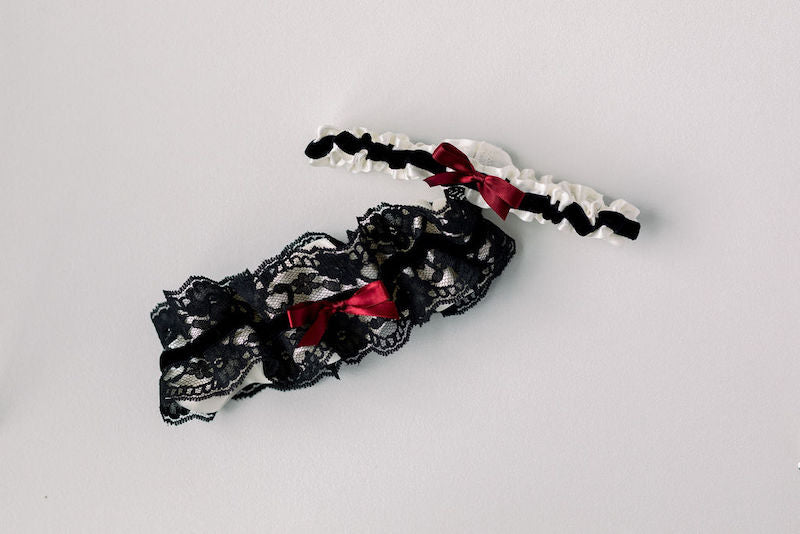 luxury wedding garter set with velvet and lace from The Garter Girl