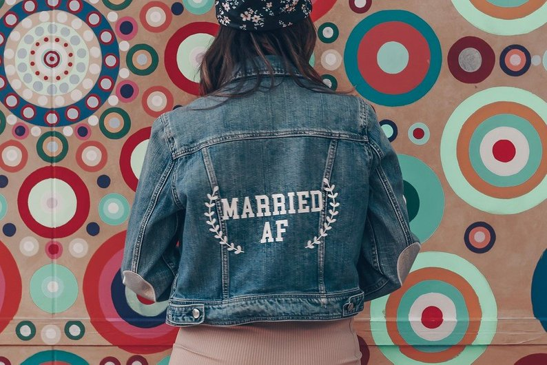 married af wedding bridal denim jean jacket
