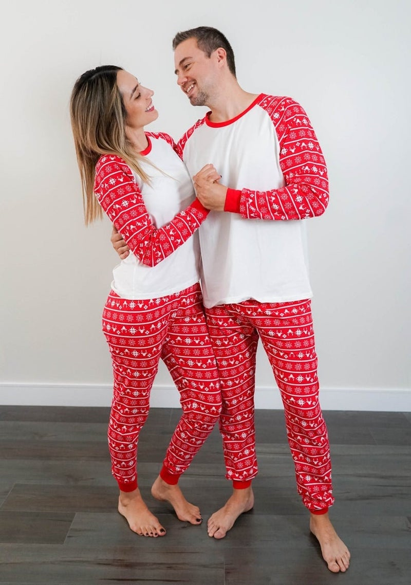Matching Holiday Pajamas for Couple in Red and White
