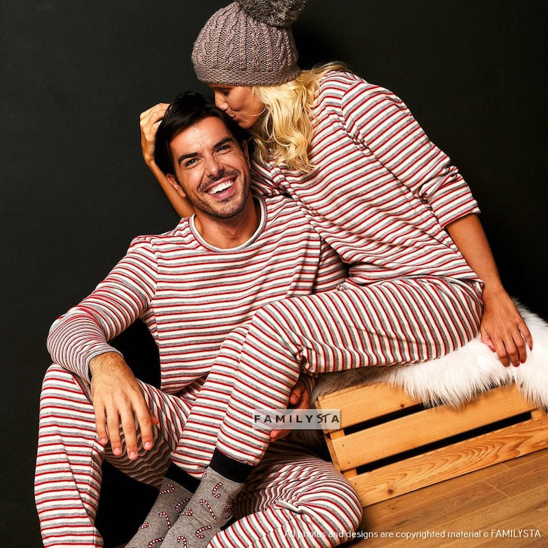Matching Striped Pajamas for Couple