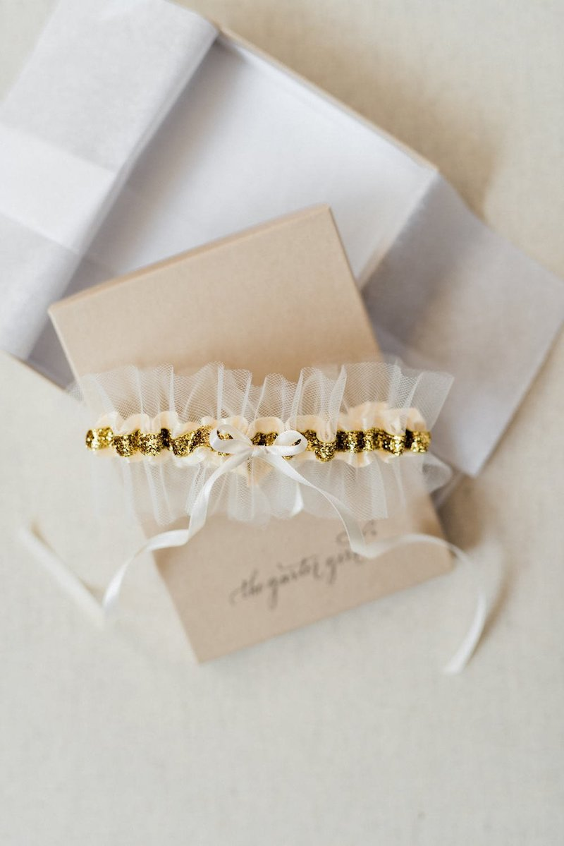 metallic and tulle wedding garter by The Garter Girl