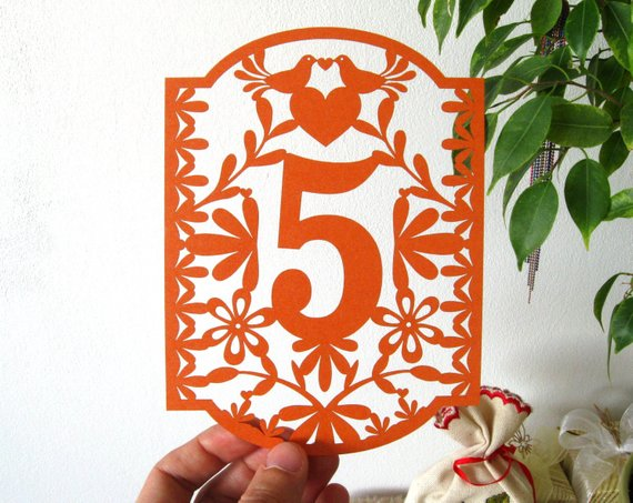 mexican wedding theme wedding day table number sign