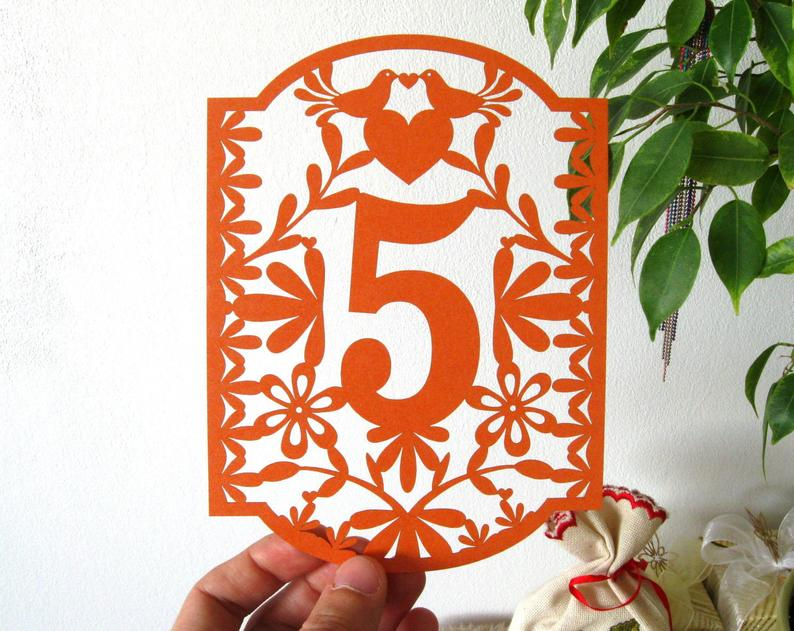 Mexican Wedding Theme Wedding Table Number Signs