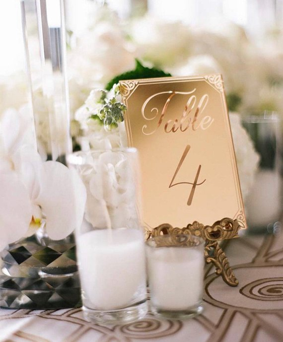 mirrored gold wedding day table number sign