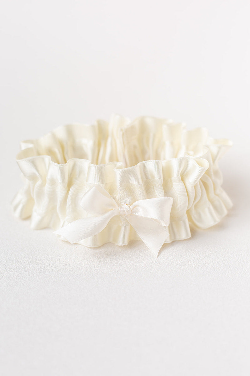 modern ivory satin wedding garter