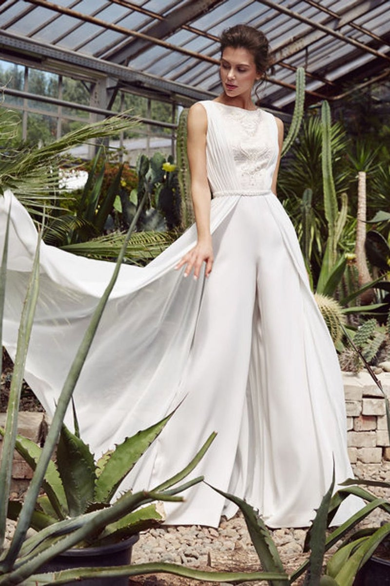 Modern Bridal Jumpsuit with Cape