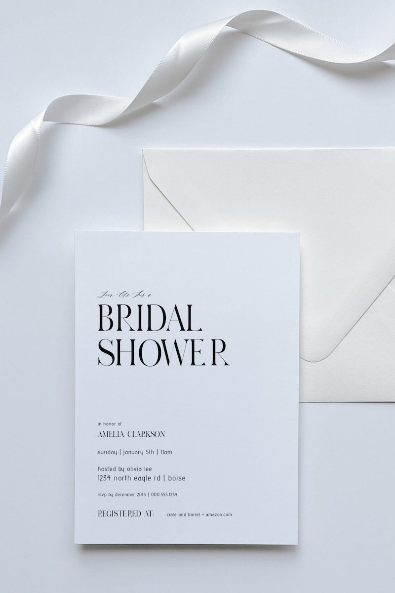 Modern Bridal Shower Invitation Black and White