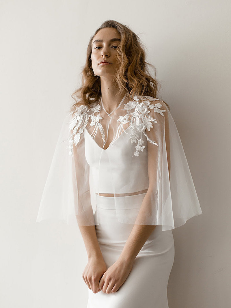 Modern Lace Bridal Bolero Cape
