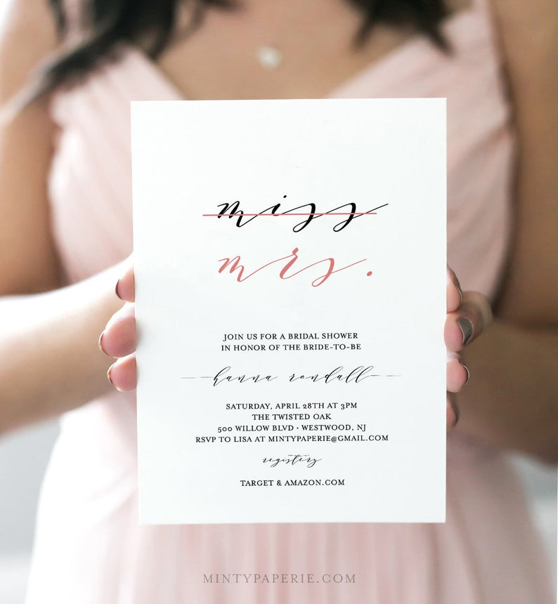 modern downloadable bridal shower invitation