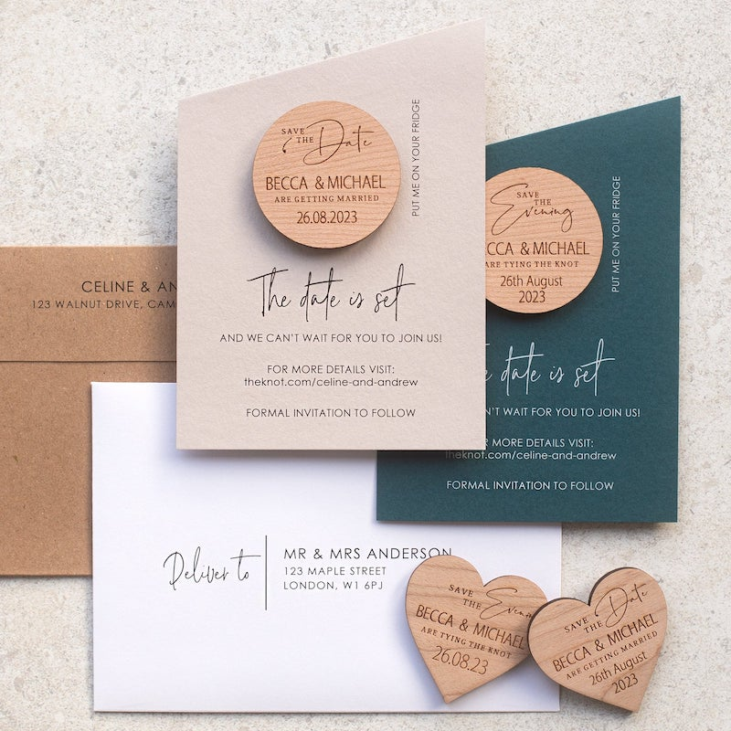 Modern Save the Date Cards with Wood Magnet