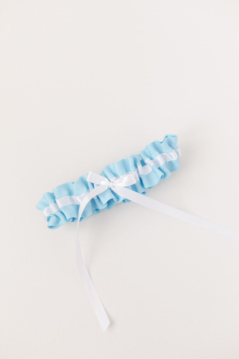 modern wedding garter with something blue and white