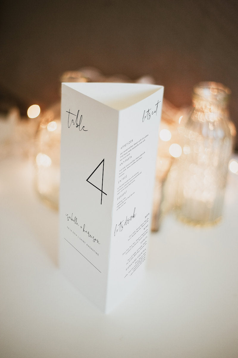 Modern Wedding Triangle Table Number Stand