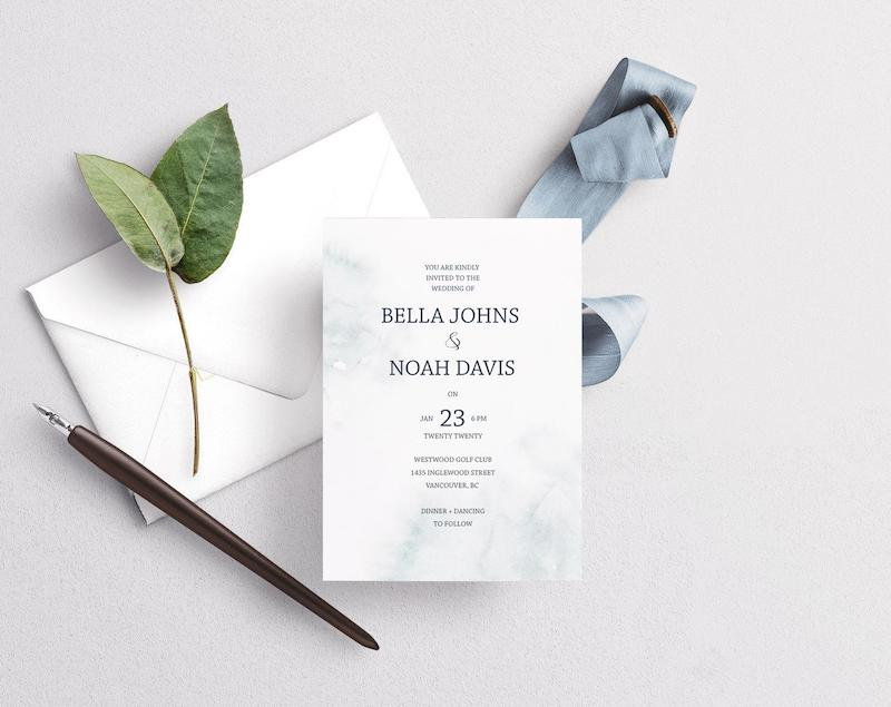 Modern White Winter Wedding Invitation Printable
