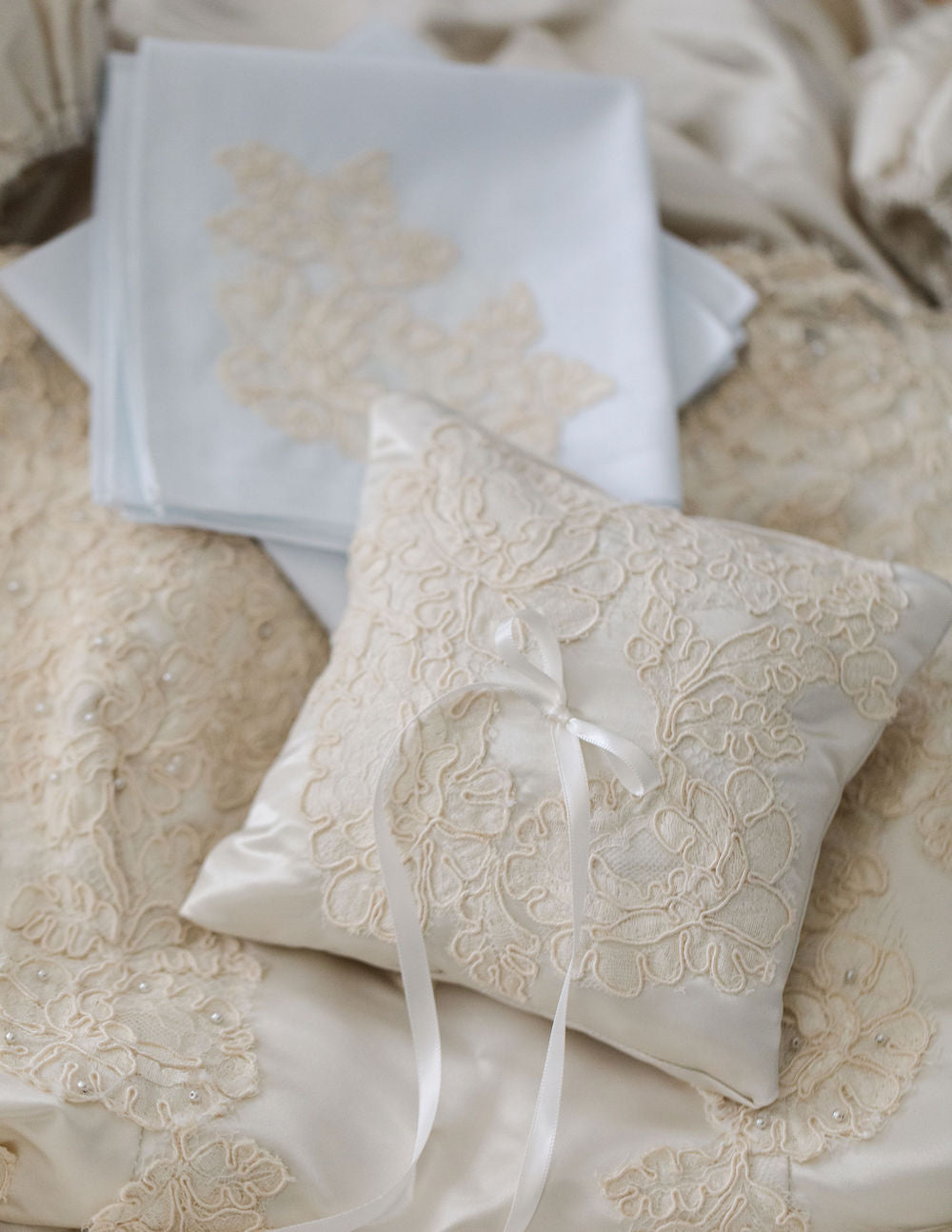 custom wedding garter heirloom and ring pillow made from grandmother's wedding dress by The Garter Girl
