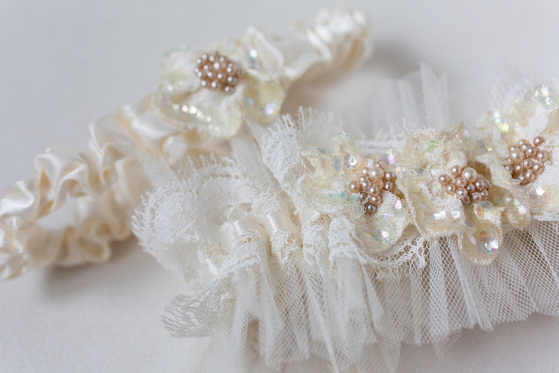 custom garter set made from mother's dress and veil with tulle and sparkle