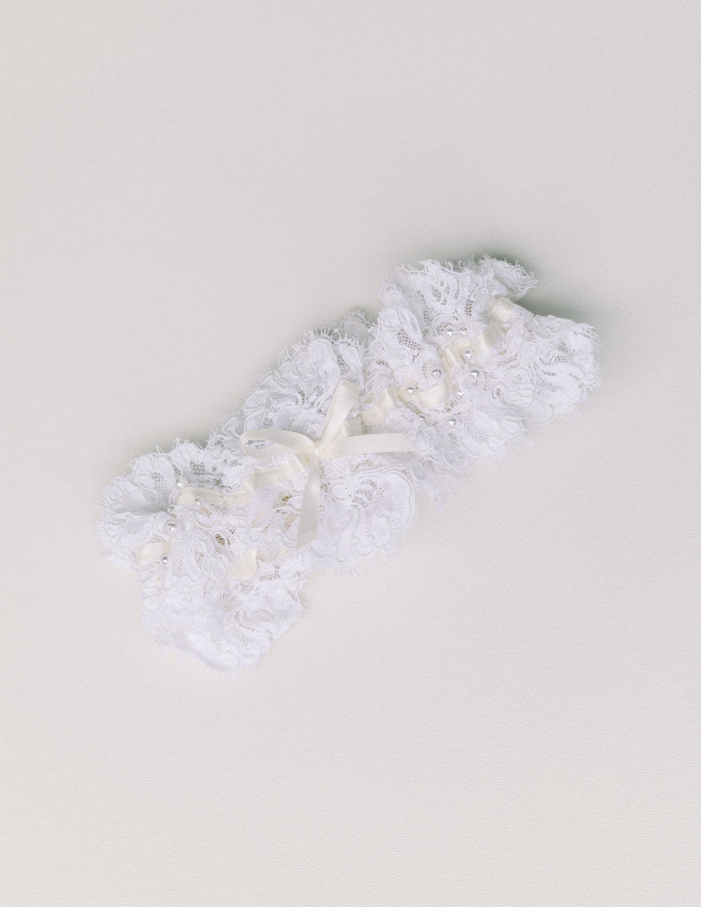wedding garter heirloom handmade with mother's wedding dress lace and pearls by The Garter Girl