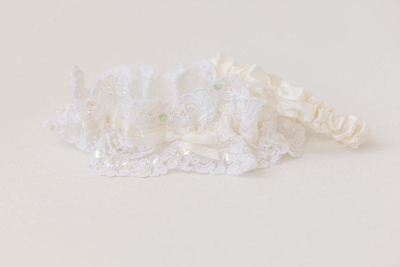 custom garter made from mother's wedding dress with lace and pearls