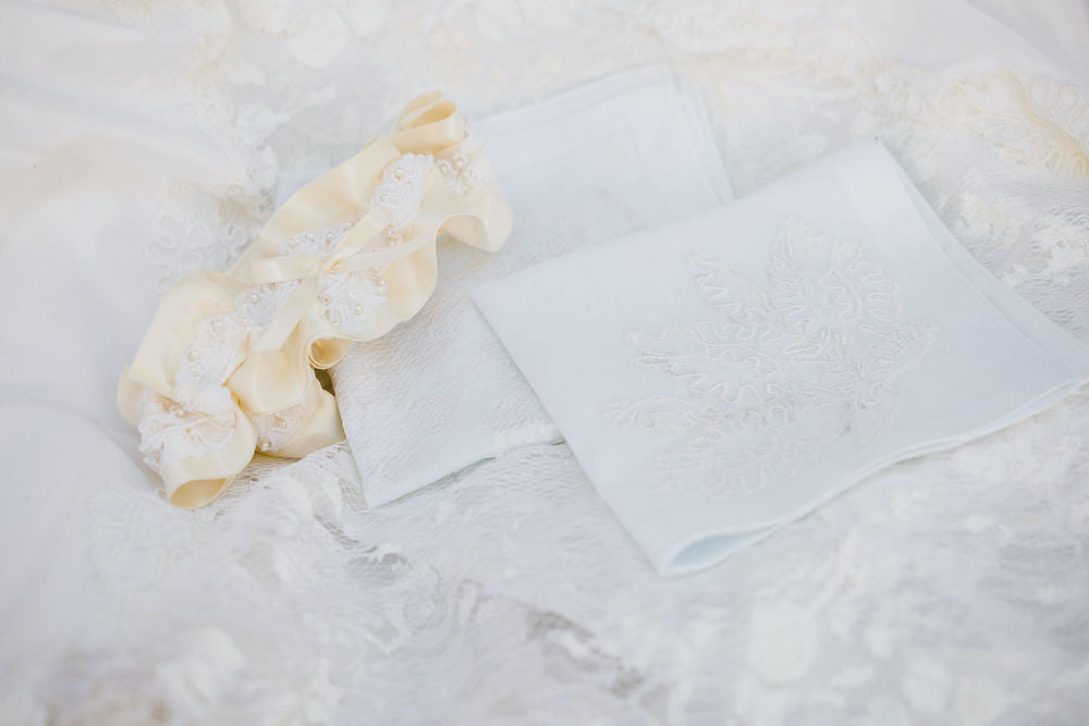 wedding garter and handkerchiefs w lace and pearls handmade from bride's mom's wedding dress by The Garter Girl