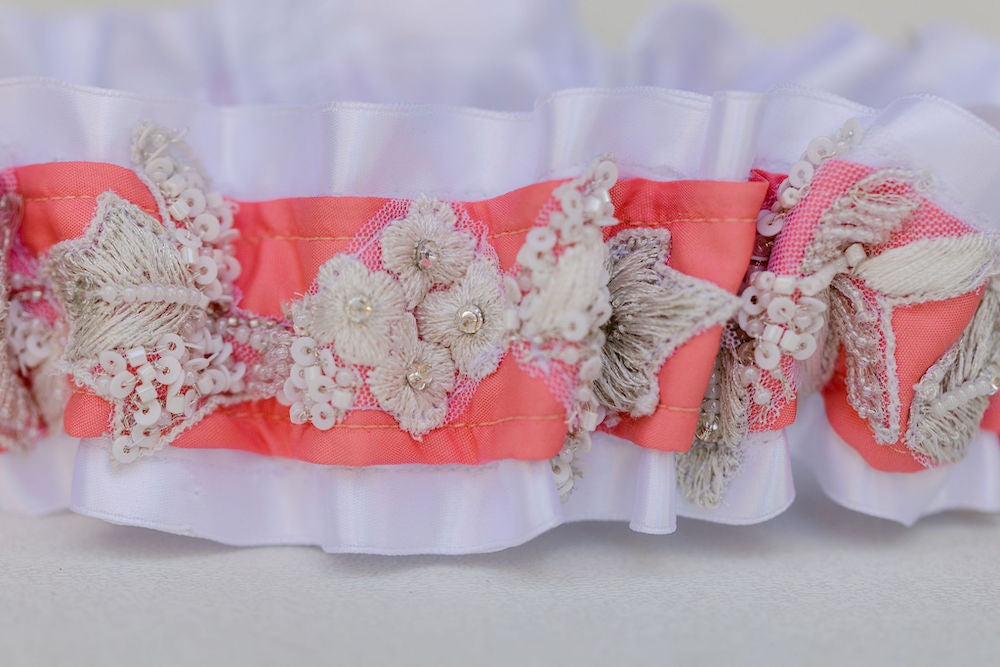 wedding garter heirlooms made from mother and daughter wedding dresses by The Garter Girl