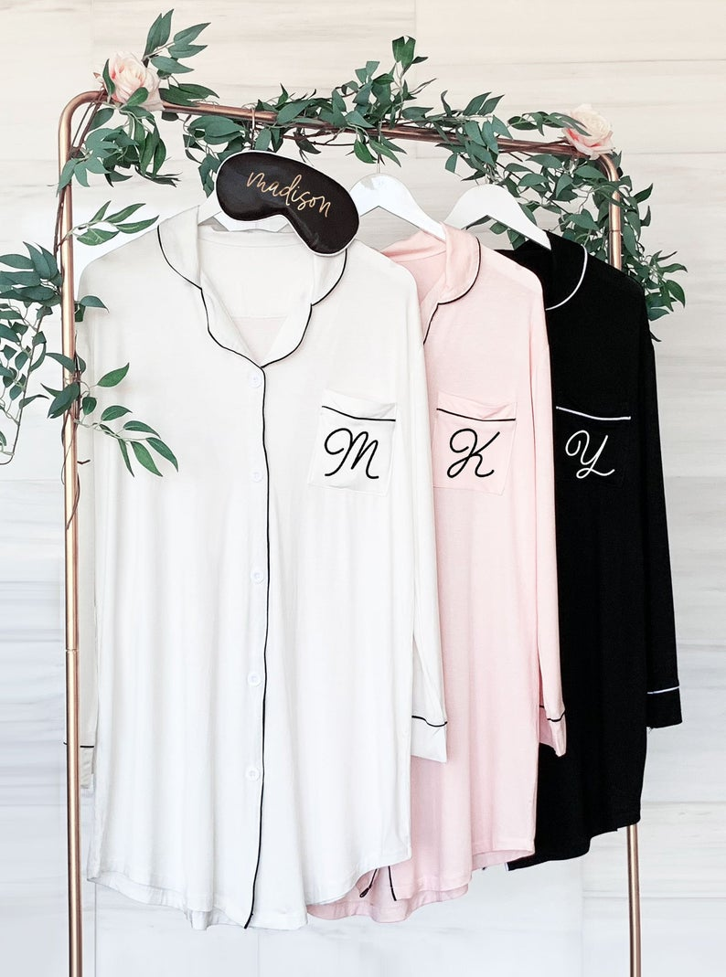 monogram sleep shirts for bridal party