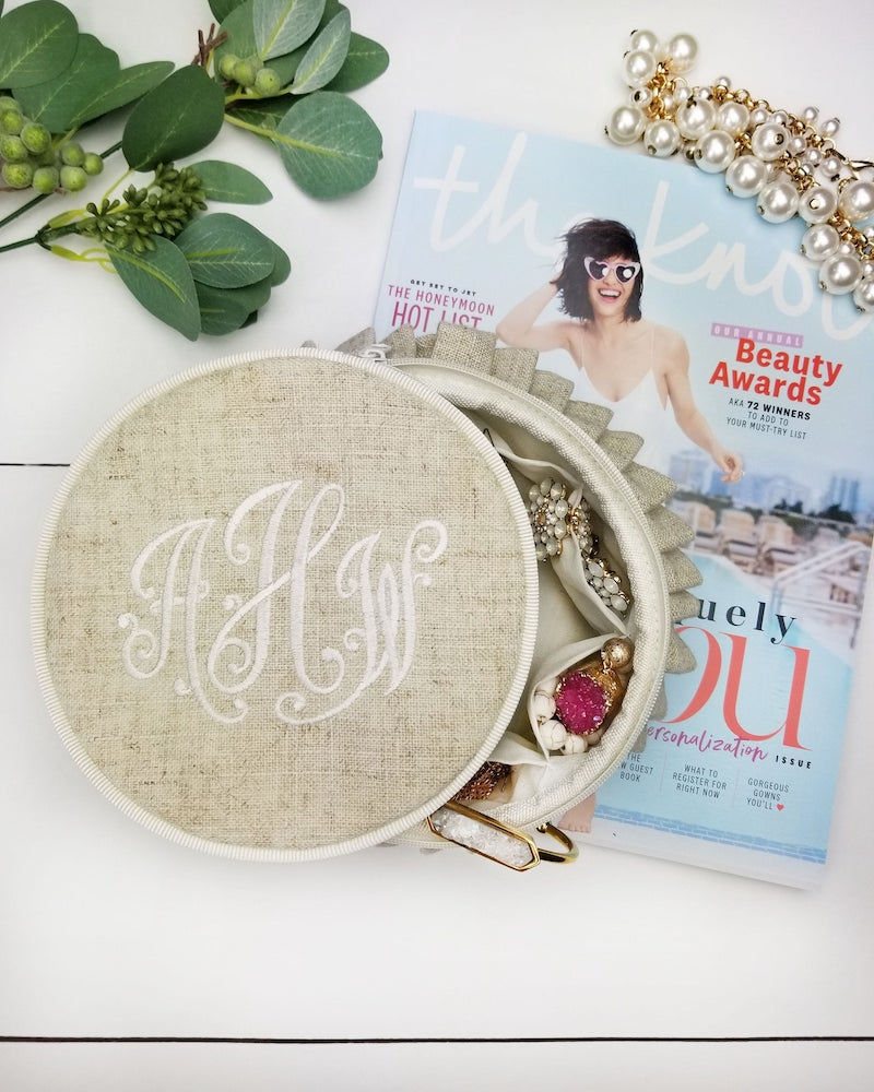 monogrammed linen ruffle jewelry box for bridesmaids