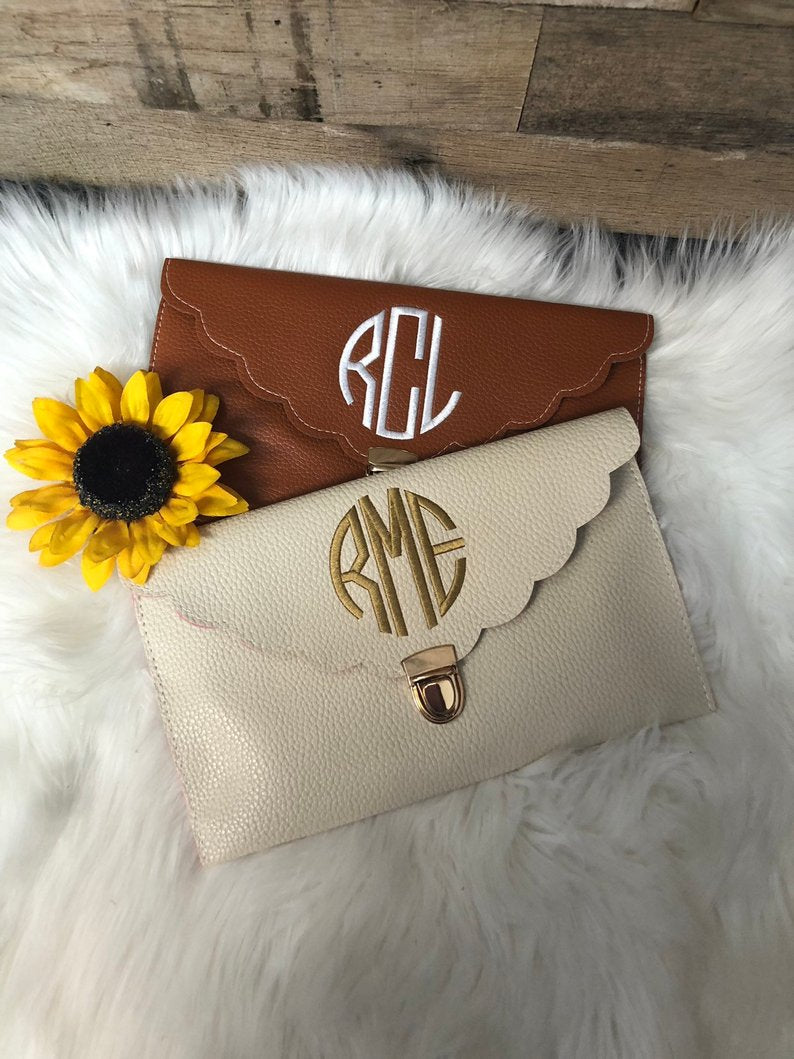 monogrammed scalloped envelope clutch bridal rehearsal dinner outfit accessory