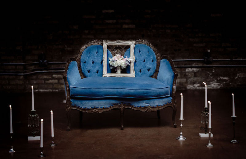 Moody Blue Sofa Bridal Session Inspiration