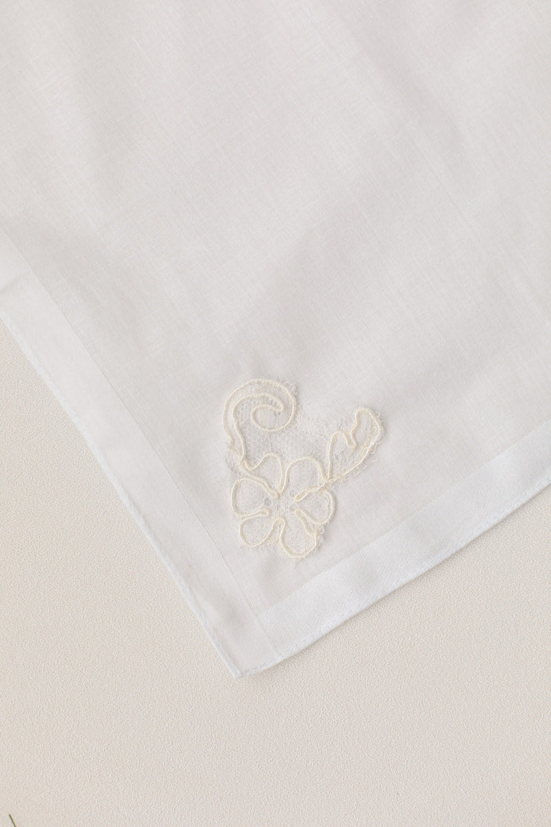 custom handkerchief made from bride's mother's wedding dress sleeve