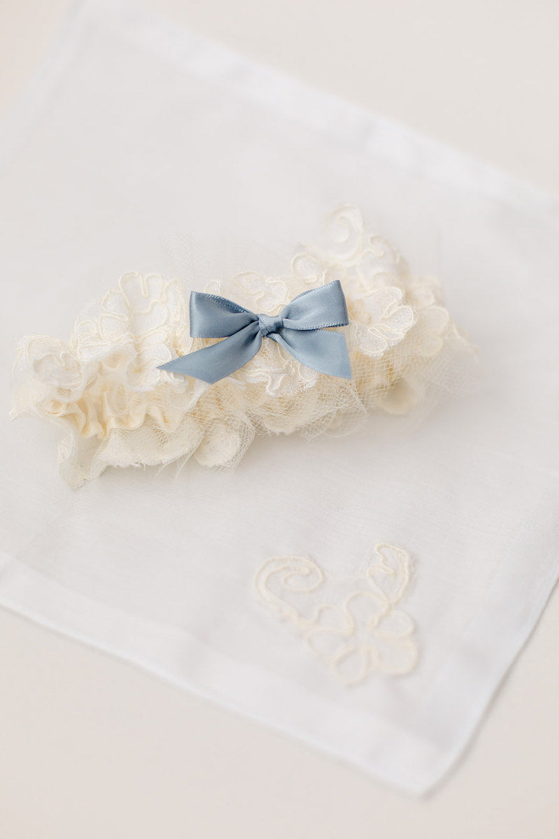 custom handkerchief and garter made from bride's mother's wedding dress sleeve