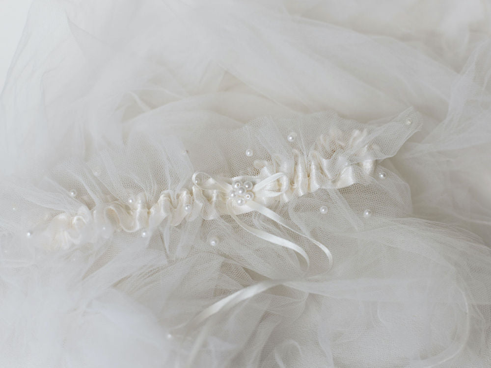 wedding garter set handmade from bride's mother's wedding veil with tulle & pearls by The Garter Girl