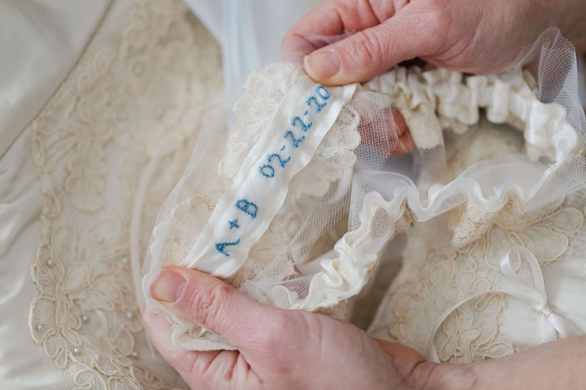 wedding heirlooms handmade from the bride's mother's wedding dress by luxury garter designer, The Garter Girl