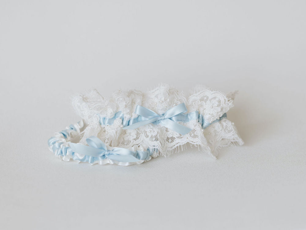 wedding accessories from mothers wedding dress w lace, pearls - wedding garter set, ring pillow, something blue & handkerchief handmade by The Garter-Girl