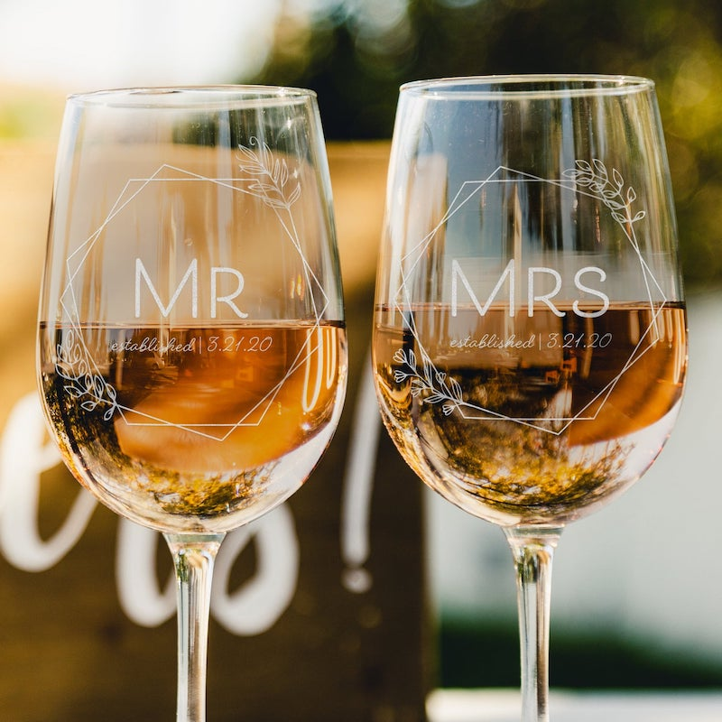 Mr and Mrs Personalized Wine Glasses Bridal Shower Gift