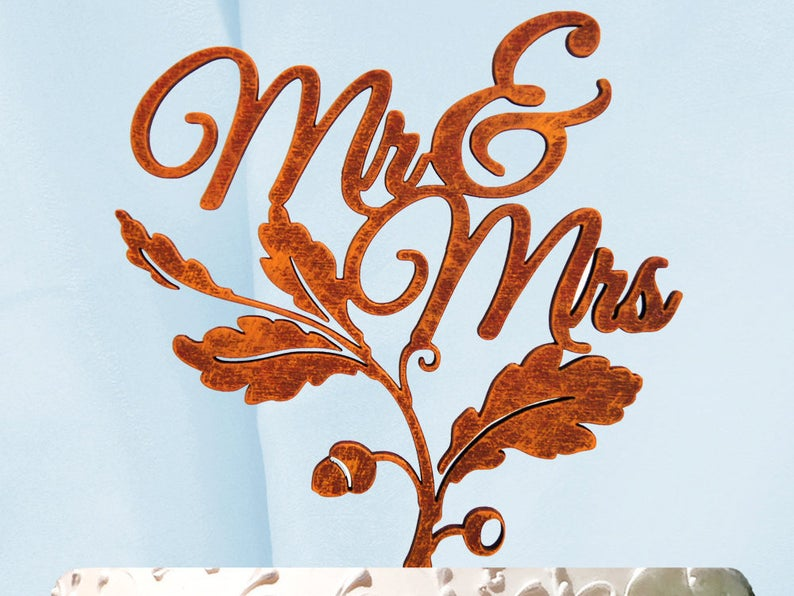 Mrs. and Mrs. Fall Leaf Wedding Cake Topper